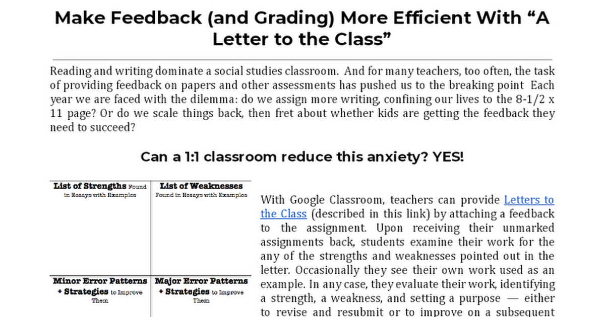 Copy of Make Feedback (and Grading) More Efficient With