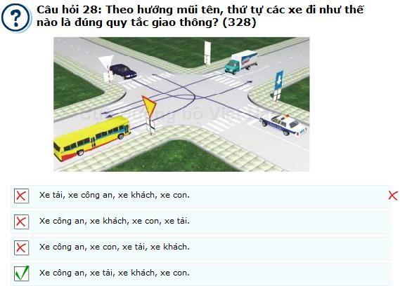 Câu hỏi 328 - câu hỏi khó thi lý thuyết bằng lái ô tô