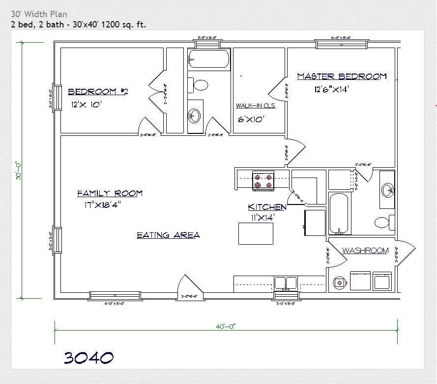 30x40 barndominium floor plan
