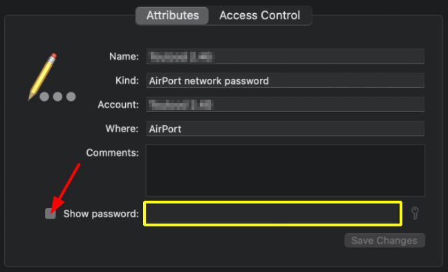 Find Network Security Key on macOS. Keychain Access > Attributes. Source: nudesystems.com