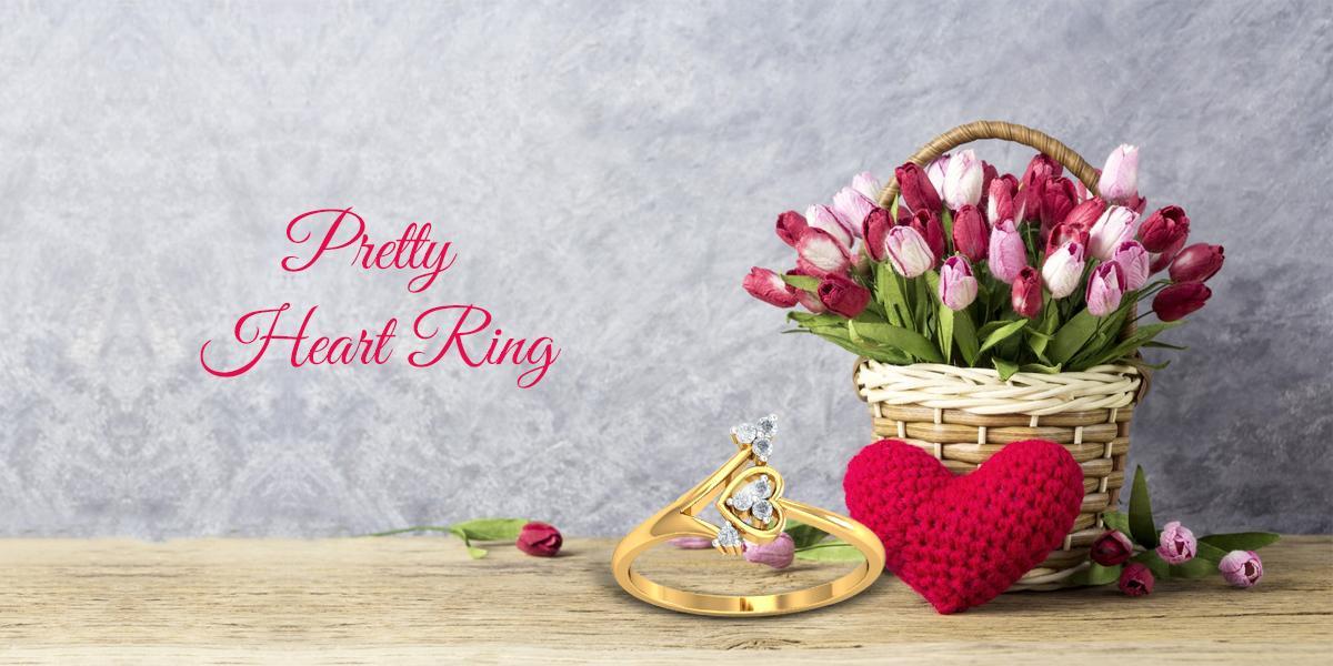 pretty heart diamond ring - KuberBox