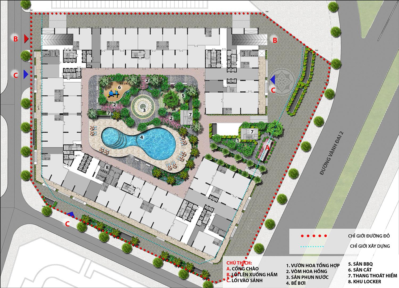 mặt bằng cảnh quan dự án The Lotus Center Ciputra