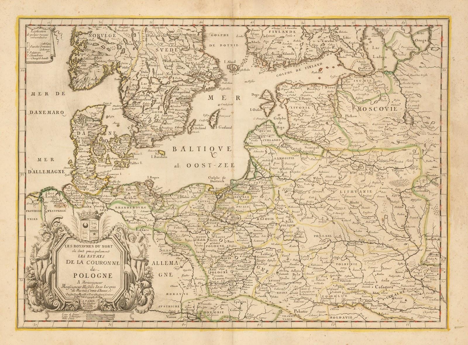 """1666 Pierre Duval: """"LES ROYAUMES DU NORT ou Sont principalement LES ETATS DE LA COURONNE de POLOGNE,"""" Paris, 15.7 x 21.9 inches"""