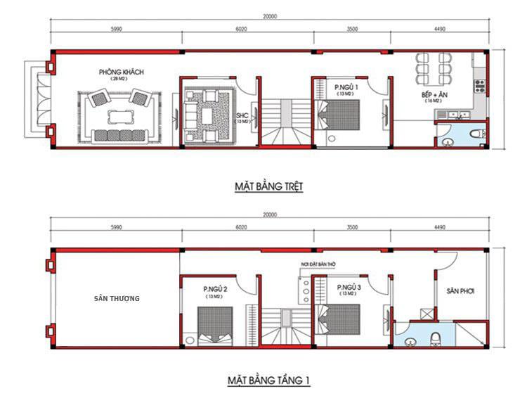 thiết kế nhà 2 tầng 3 phòng ngủ