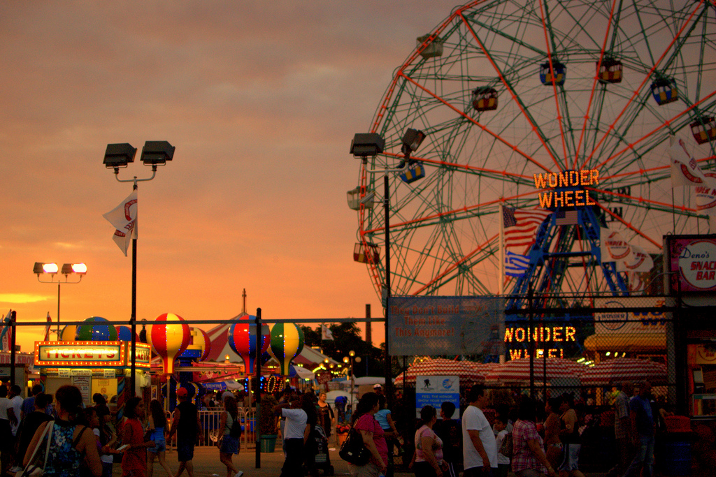 Image of Coney Island Cyclone and pier at sunset