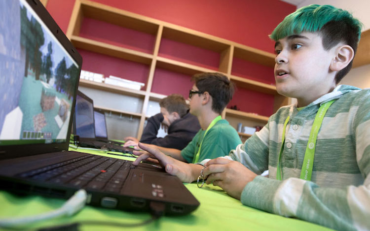 student coding with minecraft and java