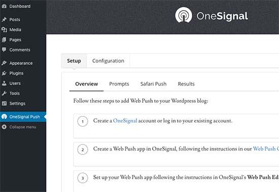 Trang cài đặt OneSignal