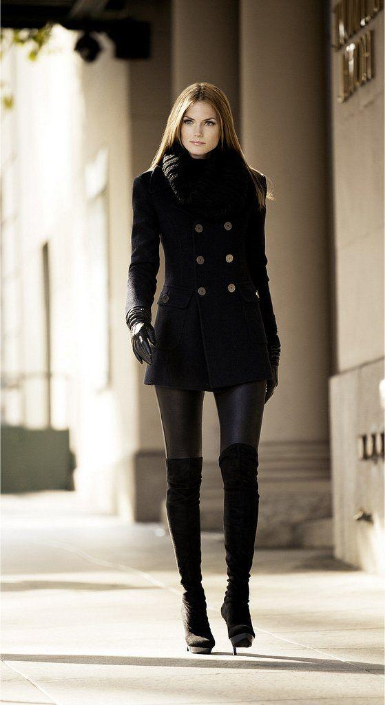 Black Leggings, Black Peacoat, Black Gloves and Black Over-the-Knee Boots.  | Winter fashion outfits, Fashion, Winter boots outfits