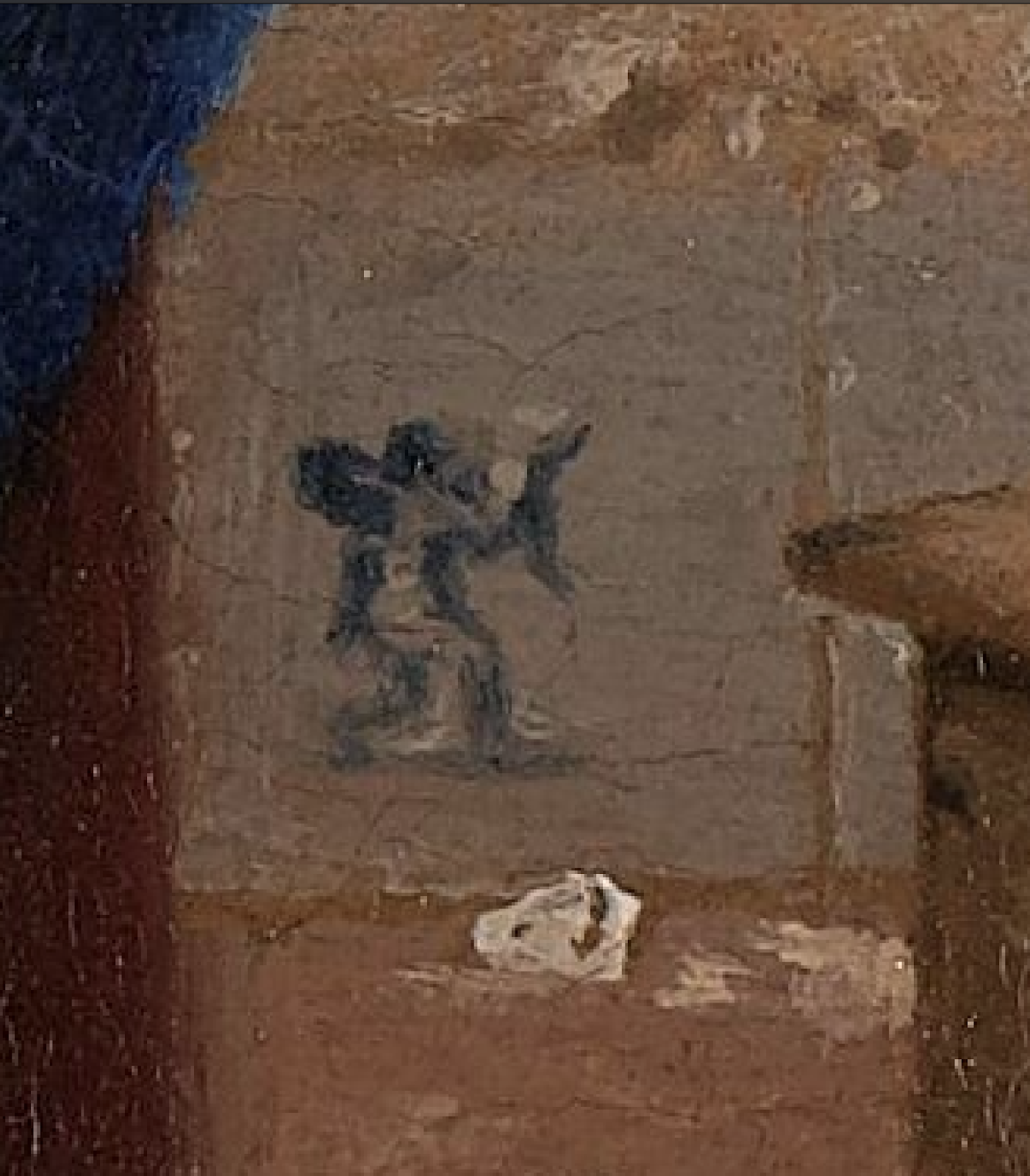 An image of Cupid on the Delft skirting tiles behind Vermeer's the Milkmaid.
