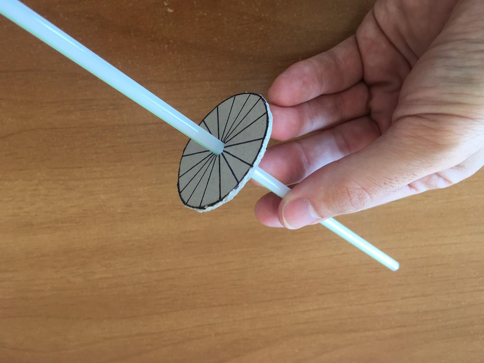 Pasaje del sorbete por el agujero de la circunferencia.