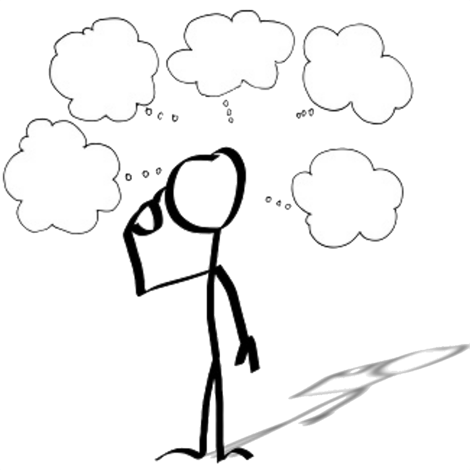 icon of a person with several thought clouds above their head