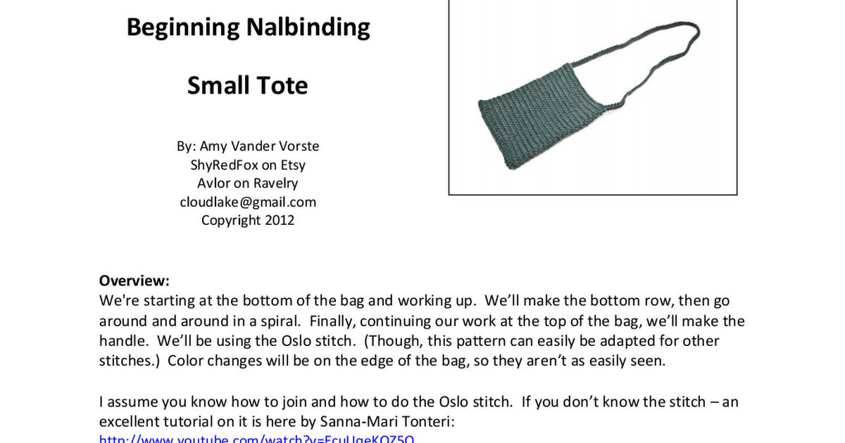 Beginning Nalbinding Small Tote Solid Color Pdf Google
