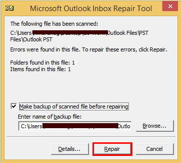Problems were detected with one of the Outlook data Files currently in use