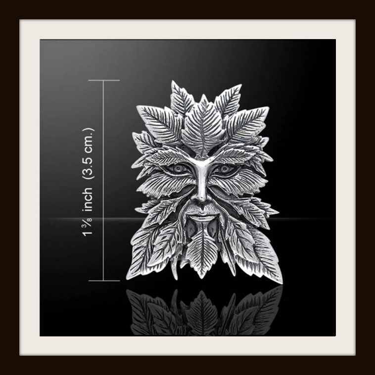 Jessica Galbreth Green Man .925 Sterling Silver Pendant by Peter Stone