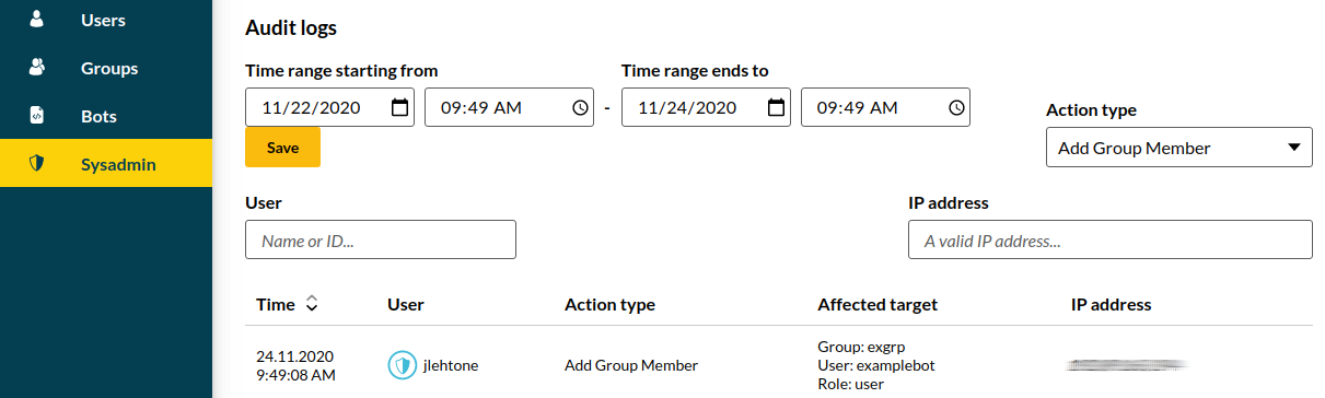 Screenshot from audit log