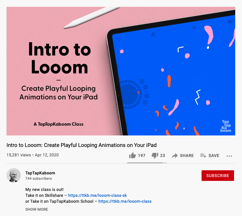 Screengrab of a video on Top Teacher Rich Armstrong's YouTube channel that promotes a new Skillshare class. The Skillshare class referral link is in the description. Image source: YouTube