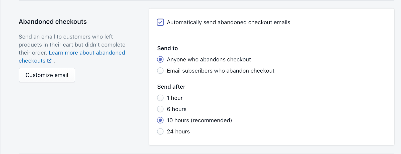 Shopify abandoned checkout email setting