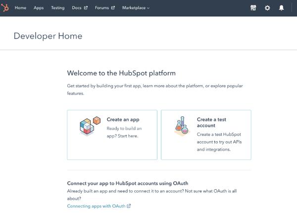 HubSpot developer homepage