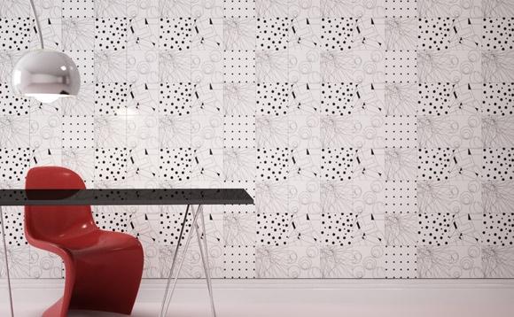 Gạch ốp tường ở các phòng làm việc