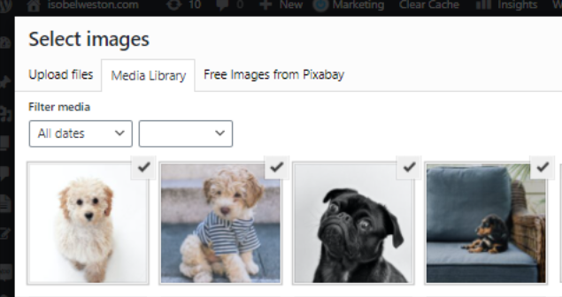 Images are selected within the WordPress Media Library.