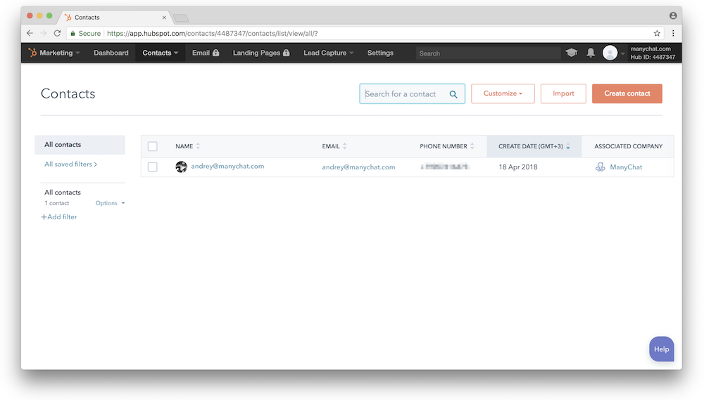 Creating contacts in HubSpot with ManyChat