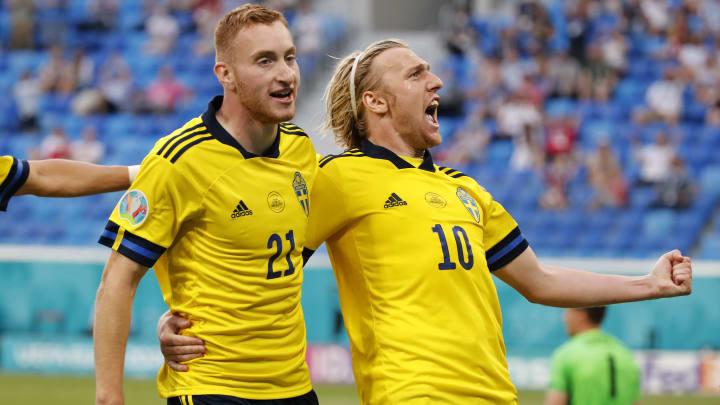 Emil Forsberg celebrates his goal against Poland