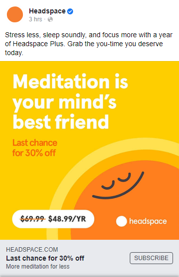 Headspace advertises on Facebook during the pandemic