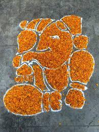Flower Rangoli Design For Ganesh Chaturthi
