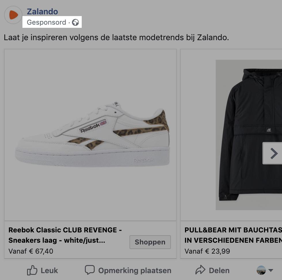 Zalando facebook ad, gesponsorde tag