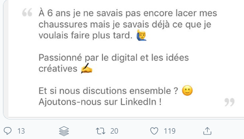 Extrait d'un post linkedin 2