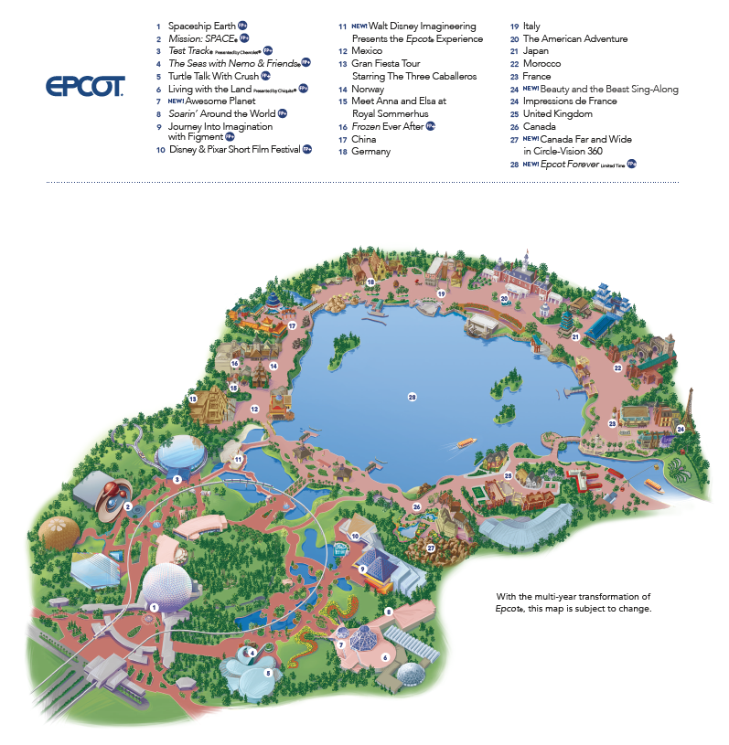 Disney's Epcot Theme Park Map by Heyday Travel Company - Free Vacation Planning Service