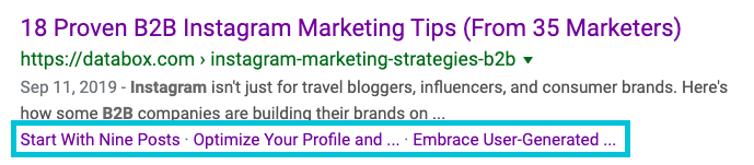 anchor links displayed in search results