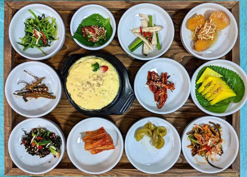 Banchan at the restaurant, Gajok Hoegwan, in Jeonju, South Korea