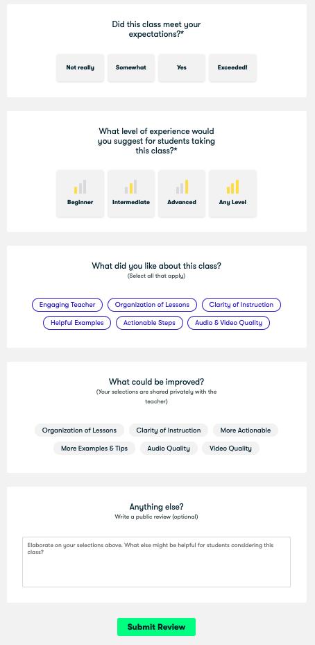 skillshare rating page