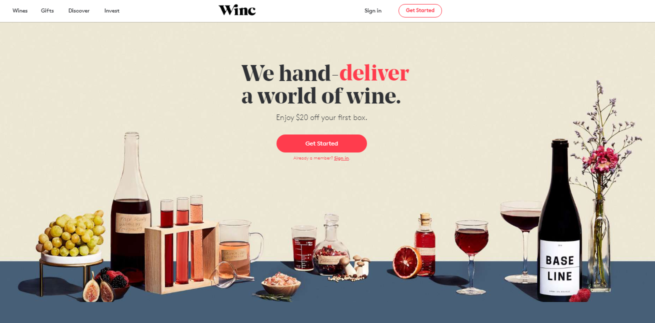 Winc Landing Page Examples