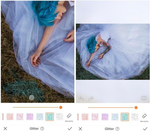 Foto da mulher deitada na grama com um vestido azul claro sendo editada pelo AirBrush com a ferramenta Glitter.