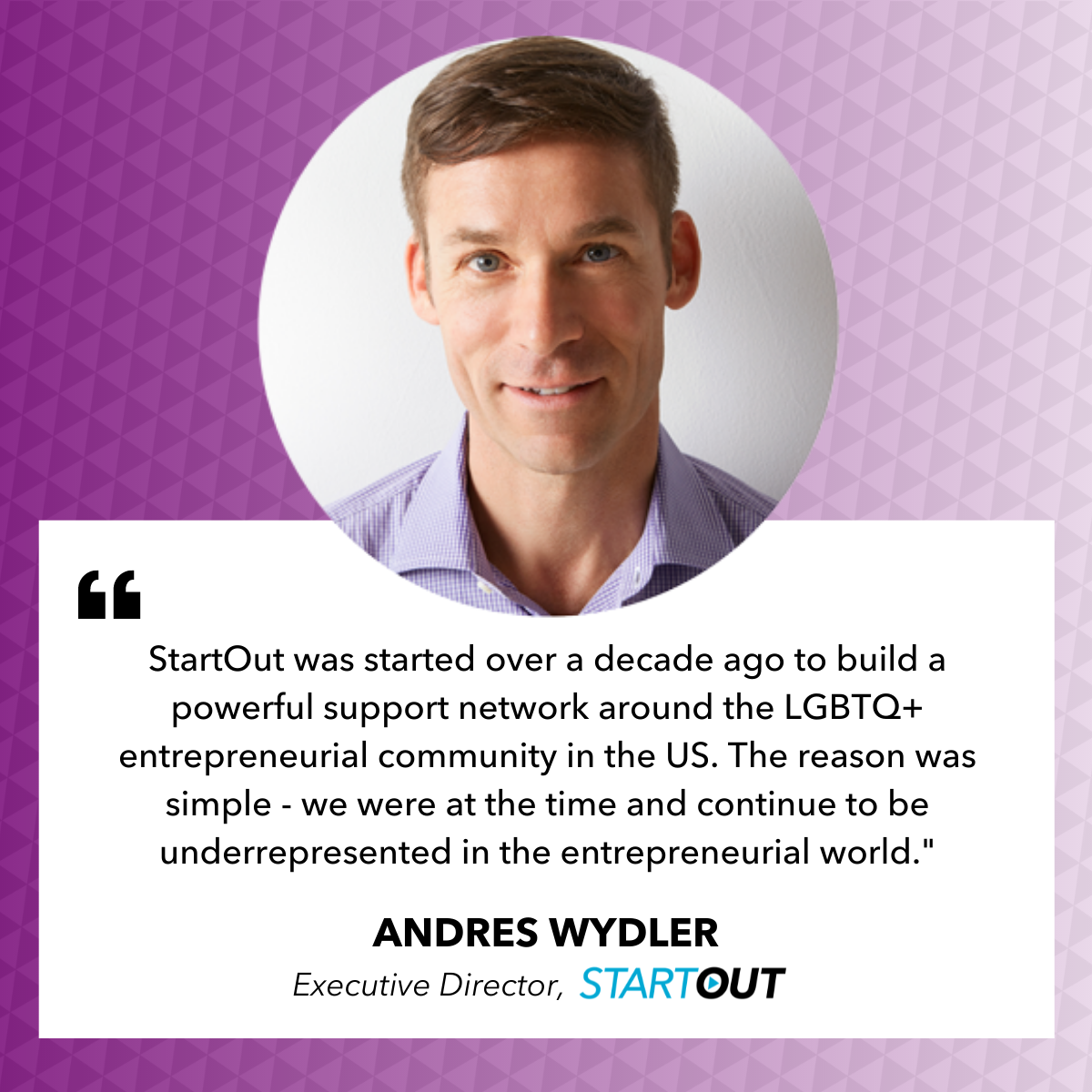 Andres Wydler executive director of startout quote card
