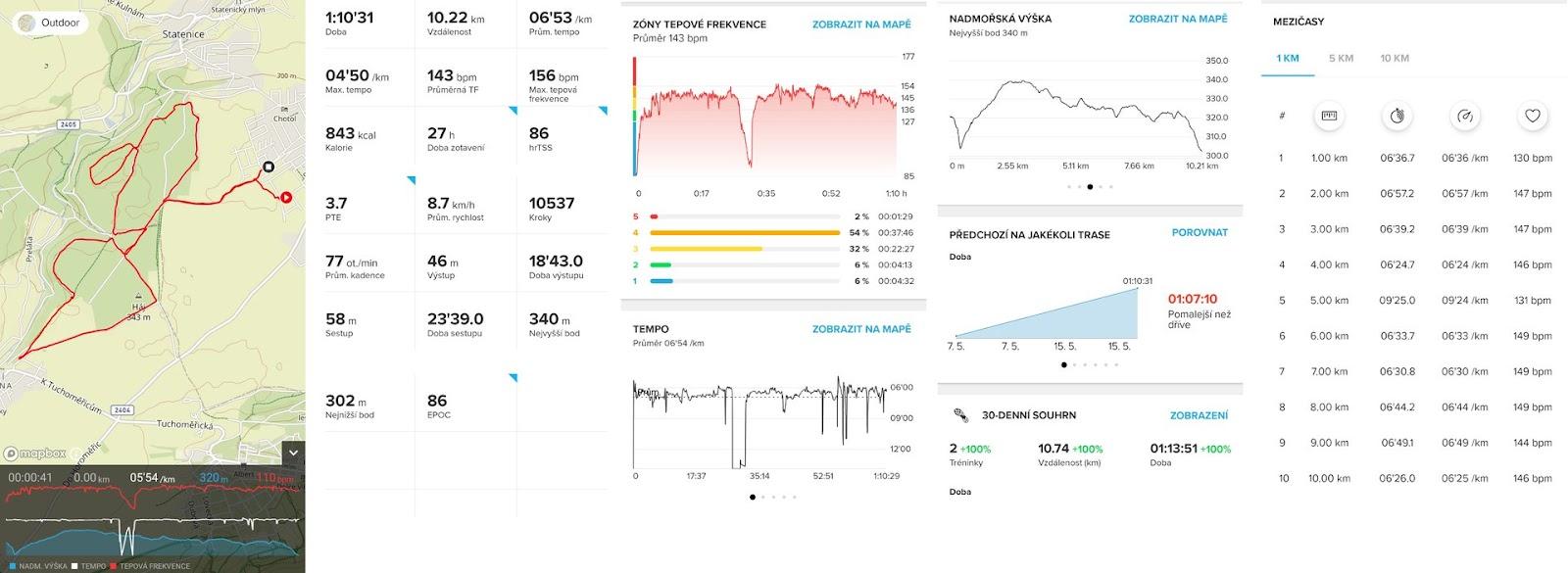 Aplikace Suunto - běh 10 km