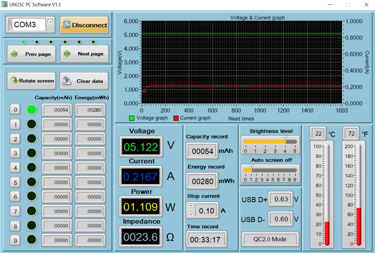 screenshot of UM25C interface