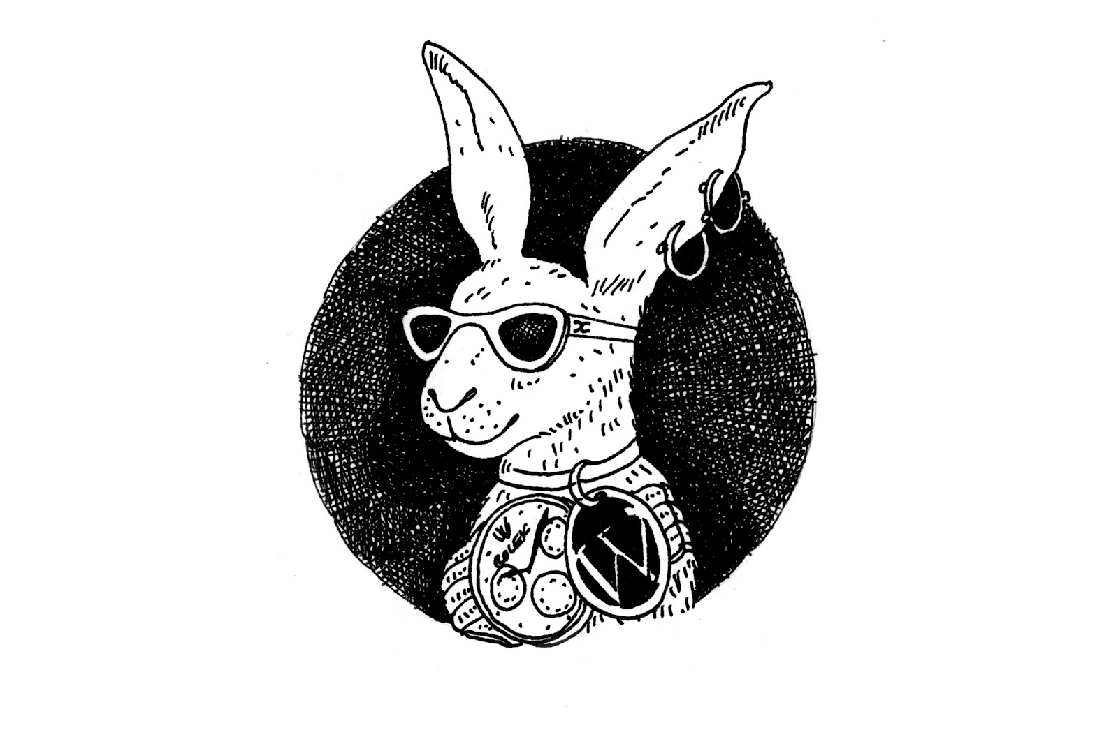 Bunny rabbit with jewellery.