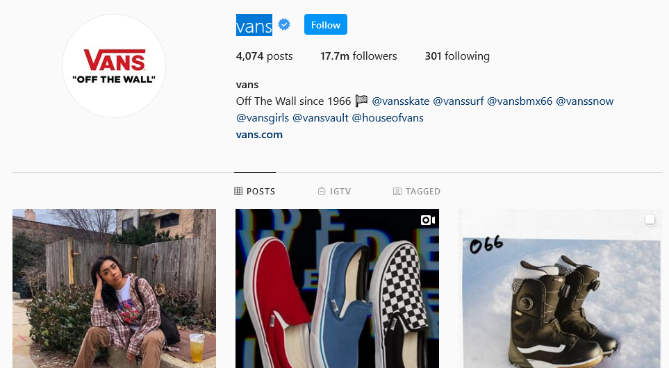 instagram brands Vans