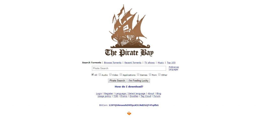 Mejor página torrent The Pirate Bay