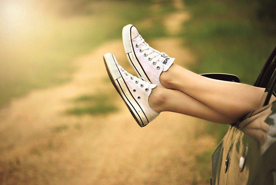 Shoes, Legs, Car, Car Window, Woman, Girl, Outdoors