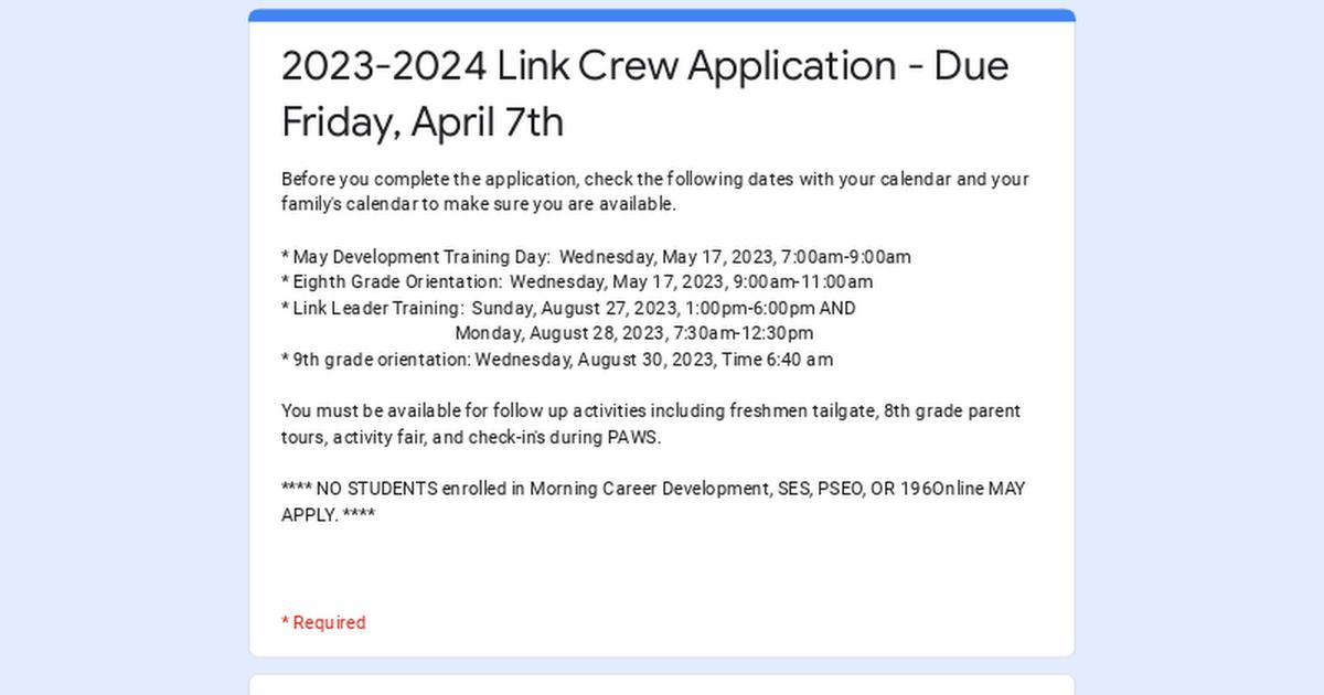 2018 2019 link crew application due tuesday april 10th. Black Bedroom Furniture Sets. Home Design Ideas