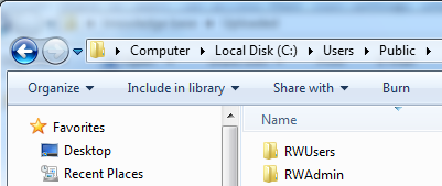 Admin and users folders