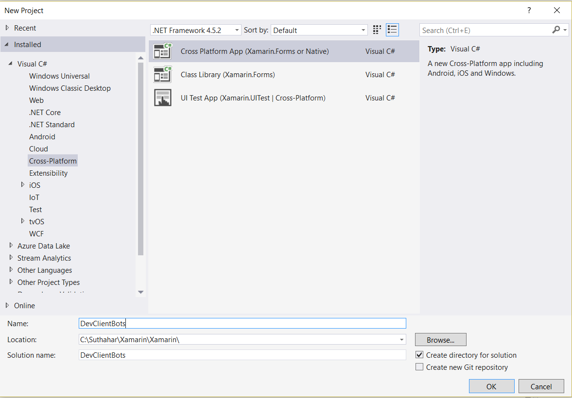 Xamarin Application Template on forms chat ui, forms listview, forms project, forms shell project, form tabs,