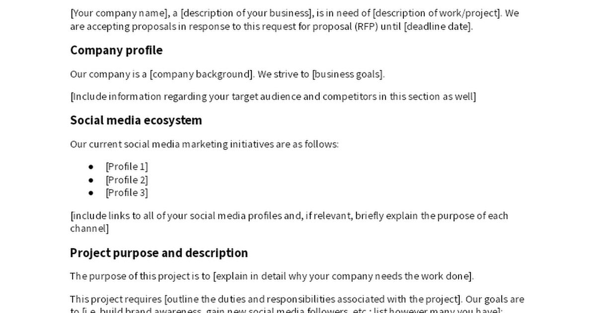 Social Media Rfp Template Make A Copy To Edit Google Docs