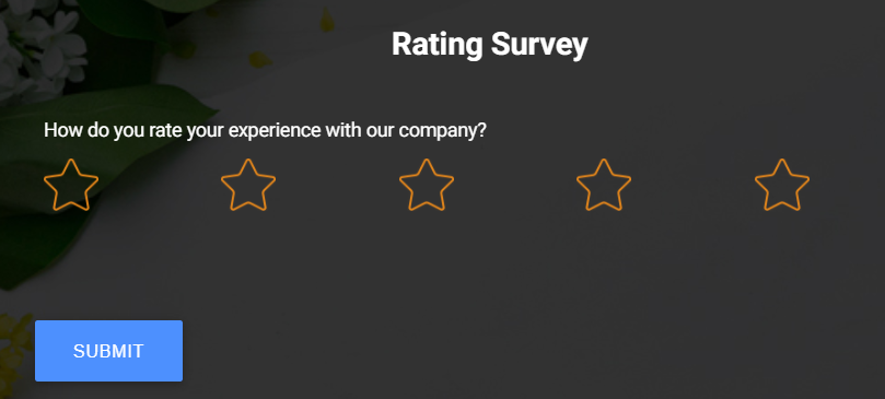 rate your experience with the brand via survey