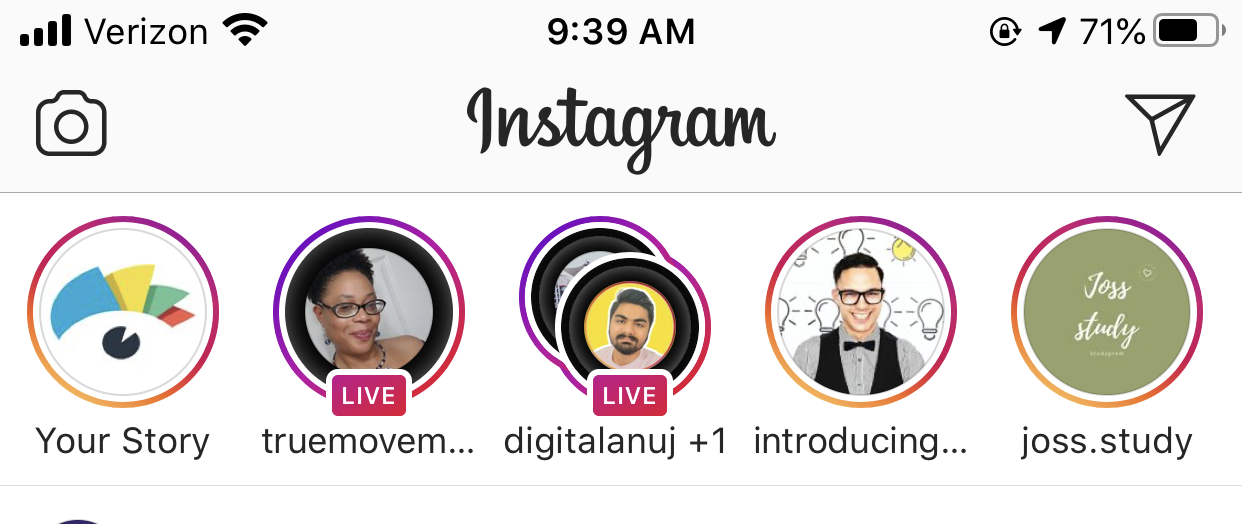 instagram live - livestreams appear in the instagram stories feed