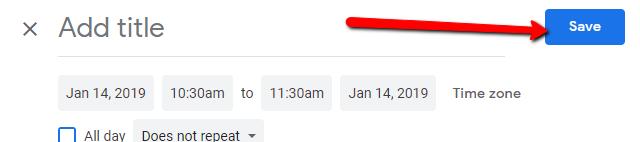 Google Calendar Save Button